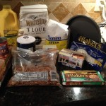 German chocolate cake and frosting ingredients