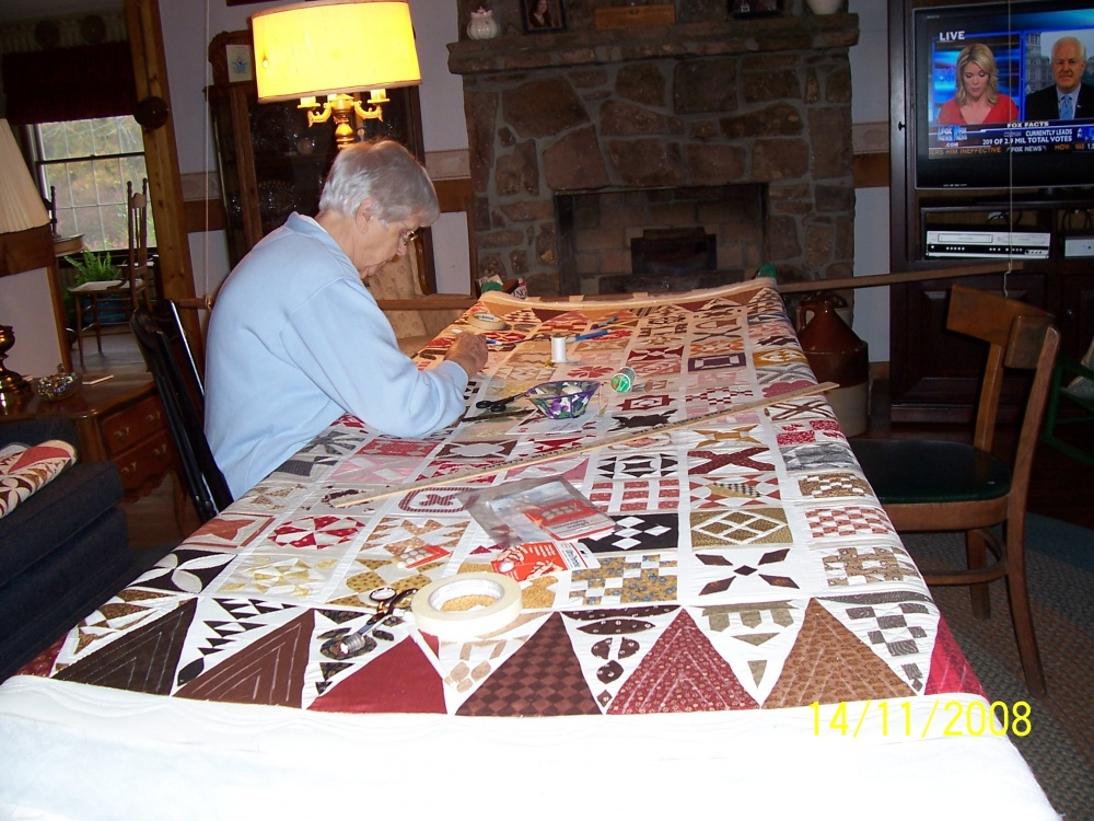 Billie Quilts on Dear Jane Quilt using hanging frames