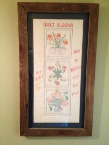 Quilt Blocks Framed in Old Barn Boards