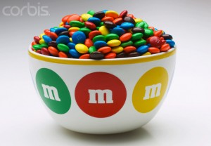 Colorful M&Ms in Bowl